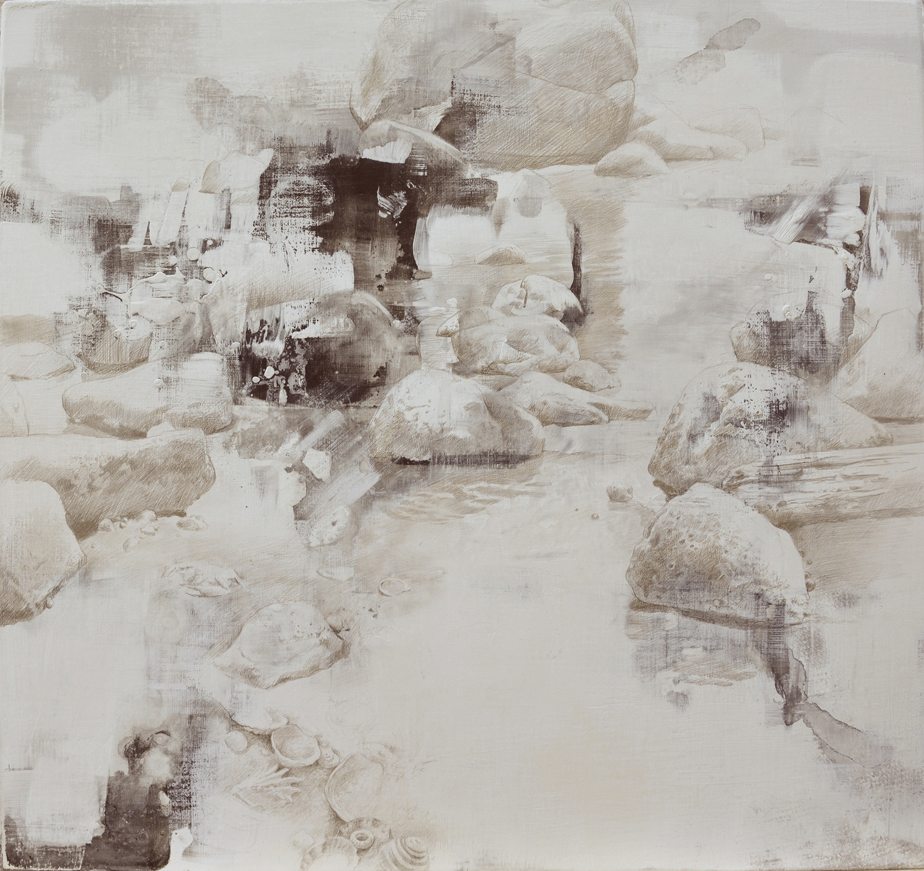 DALE O. ROBERTS  REMNANTS OF TIDAL POOLS  Silverpoint 16 x 17  $2,200.