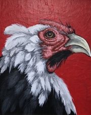 ERIC FAUSNACHT CHICKEN CHATTER  White Crested Black Polish Rooster  Acrylic on Canvas 10 x 8  $250.