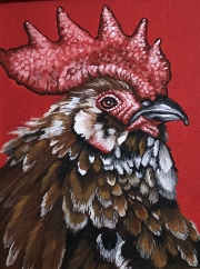 ERIC FAUSNACHT CHICKEN CHATTER  Mille Fleur III  Acrylic on Canvas 10 x 8  $250.