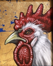 ERIC FAUSNACHT CHICKEN CHATTER  Gilded White Rooster IV  Acrylic on Canvas 10 x 8  $250.