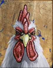 ERIC FAUSNACHT CHICKEN CHATTER  Gilded White Rooster II  Acrylic on Canvas 10 x 8  $250.