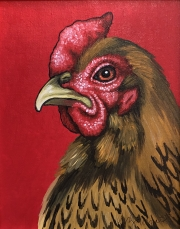 ERIC FAUSNACHT CHICKEN CHATTER  Old English Rooster II  Acrylic on Canvas 10 x 8  $250.