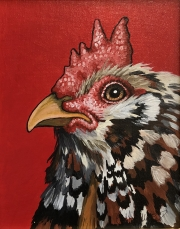 ERIC FAUSNACHT CHICKEN CHATTER  Mille Fleur Rooster  Acrylic on Canvas 10 x 8  $250.