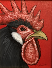ERIC FAUSNACHT CHICKEN CHATTER  Black Rooster I  Acrylic on Canvas 10 x 8  $250.