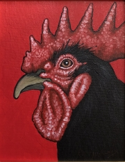ERIC FAUSNACHT CHICKEN CHATTER  Black Rooster II  Acrylic on Canvas 10 x 8  $250.