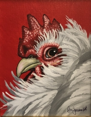 ERIC FAUSNACHT CHICKEN CHATTER  White Hen  Acrylic on Canvas 10 x 8 $250. -SOLD