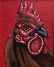 ERIC FAUSNACHT CHICKEN CHATTER  Golden Rooster   Acrylic on Canvas 10 x 8  $250.