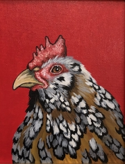 ERIC FAUSNACHT CHICKEN CHATTER  Black Penciled Rooster  Acrylic on Canvas 10 x 8  $250.