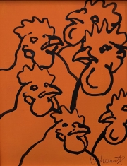ERIC FAUSNACHT CHICKEN CHATTER  Chicken Chat No. 1  Acrylic on Canvas 10 x 8  $225. -SOLD
