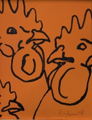 ERIC FAUSNACHT CHICKEN CHATTER  Chicken Chat No. 13  Acrylic on Canvas 10 x 8  $225.