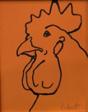 ERIC FAUSNACHT CHICKEN CHATTER  Chicken Chat No. 2  Acrylic on Canvas 10 x 8  $225.