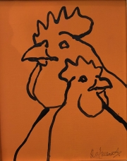 ERIC FAUSNACHT CHICKEN CHATTER  Chicken Chat No. 8  Acrylic on Canvas 10 x 8  $225.