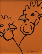 ERIC FAUSNACHT CHICKEN CHATTER  Chicken Chat No. 11  Acrylic on Canvas 10 x 8  $225. -SOLD