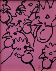 ERIC FAUSNACHT CHICKEN CHATTER  Chicken Chat No. 9  Acrylic on Canvas 10 x 8  $225. -SOLD