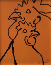ERIC FAUSNACHT CHICKEN CHATTER  Chicken Chat No. 20  Acrylic on Canvas 10 x 8  $225.