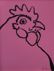ERIC FAUSNACHT CHICKEN CHATTER  Chicken Chat No. 15  Acrylic on Canvas 10 x 8  $225.