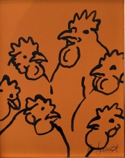 ERIC FAUSNACHT CHICKEN CHATTER  Chicken Chat No. 4  Acrylic on Canvas 10 x 8  $225.