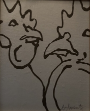 ERIC FAUSNACHT CHICKEN CHATTER  Chicken Chat No. 6  Acrylic on Canvas 10 x 8  $225.