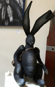 BLACK RABBIT WITH SATCHEL