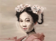 GEISHA WITH WHITE FLOWERS IN HAIR