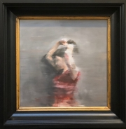 JAMES DOHERTY  GIRL IN RED DRESS  Oil and Cold Wax 17 x 17  $1,800.