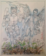 BUCK AND ICARUS FLY TO PHOEBES ISLAND, 2014,  PENCIL, COLORED PENCIL, GOUACHE, WATERCOLOR, 17 X 14
