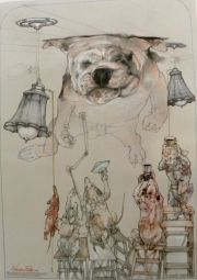 BULLDOG STUCK ON THE CEILING  - SOLD