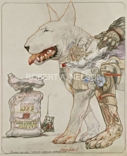 STUDY FOR A BIONIC DOG,  2015 Pencil, color pencil, collage 17 x 14