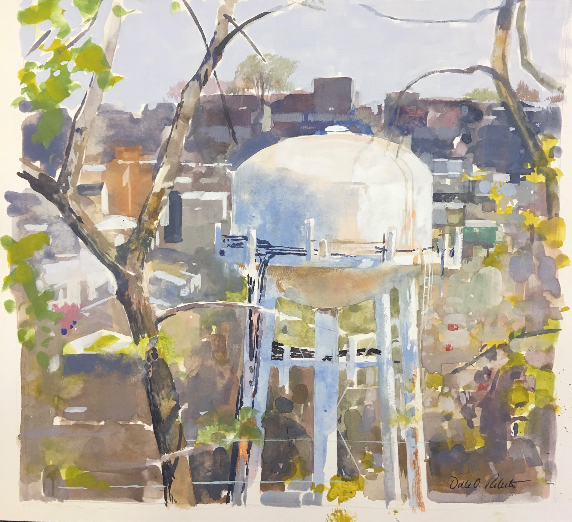 DALE O. ROBERTS  WATER TOWER  Gouache 8 x 8  $300