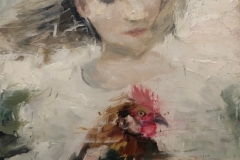 JAMES DOHERTY  GIRL WITH CHICKEN  Oil and Cold Wax 6 x 6 $300.