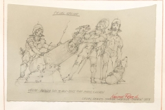 ROBERT A. NELSON  VENICE- PARADE DAY 12th CEN -DOGS SHOT FROM CANNON  PENCIL  8 x11   $125