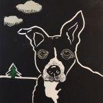 Susan Roseman Cloudy Lino collage & caran d'ache 6 3/4 x 6 $250.