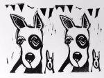 Artie Art Susan Roseman Double Dutch Lino 3 x 4 1/2 $48.