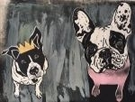 Susan Roseman The King and I Lino, collage and gold leaf 9 x 12 $450.