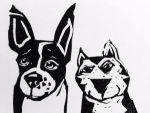 Artie Art Susan Roseman An Unbelievable Pair Lino 3 x 4 1/2 $48.