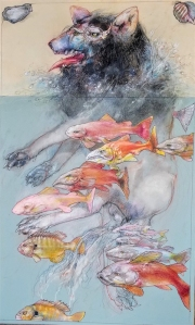 ROBERT A. NELSON  SWIMMING WITH THE FISHES   Collage- Pencil, Color Pencil, Wash