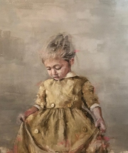 JAMES DOHERTY GIRL IN OCHRE DRESS   Oil and Cold wax   48 x 48