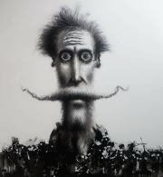 DAVID SILVAH   QUIXOTE BLACK AND WHITE   Acrylic, Charcoal on Canvas   63 x 54   $3,000.