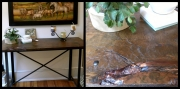 WES NEWSWANGER 19th C. FLOORBOARD ON IRON LEGS *sealed for outdoor use 650.