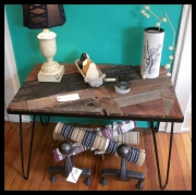 WES NEWSWANGER RECLAIMED 1950'S HAIRPIN LEG TABLE W/ SALVAGED BARNWOOD PATCHWORK TOP 650.