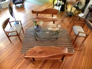 WES NEWSWANGER MIRROR BENCHES *shown with reupholstered lane chairs CHERRY 500. PAIR