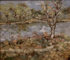 Alan Fetterman |  April at Riverside |  Oil on glass  | 10 x 12   | $2,200.