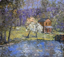 Alan Fetterman |  Canal Side |  Oil on linen |  36 x 40 |  $9,500.