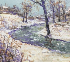 Alan Fetterman |  Village Creek  |  Oil on glass |  14 x 16 |  $2,850.