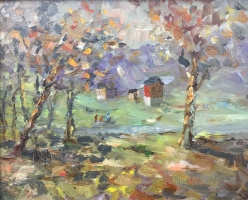 SOLD- FLECKS OF AUTUMN 10 x 8 Oil on Glass $1700
