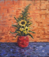 SUNFLOWERS & FERNS Oil on Linen 18 x 16 $2900