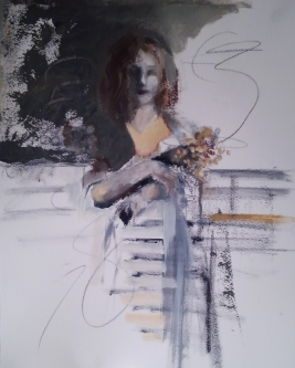 Ann Rudd  |  Distracted  |  Mixed-media |  16 x 12  |  $300. (unframed)