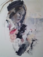 Ann Rudd     Woman in Hat     Oil  on canvas    24 x 18     $450. (gallery wrapped canvas)