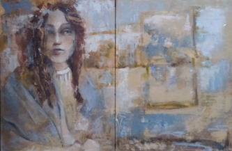 Ann Rudd |  Circumspect |  Oil on cradled board |  16 x 24 diptych  |  $500.