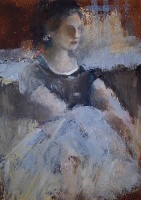 Ann Rudd  Lady Seated On Umber Sofa |  Oil on canvas |  7x5 |  $325. | SOLD